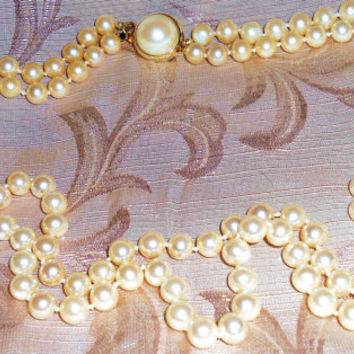 Vintage Ann Taylor Signed Designer Double Strand Faux Pearl Necklace w Decorative Closure Ivory Pearl Bridal Jewlery