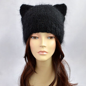 Mohair Cat Ear Hat or Cat Beanie, Hand Knitted Hat, Black Cat Hat, Mohair Hat, Mohair Ear Hat