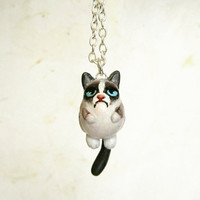 Grumpy Cat Necklace, Polymer clay hand painted jewelry
