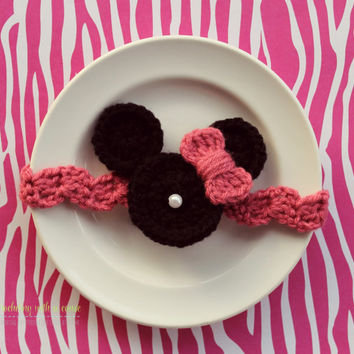 Minnie Mouse Crocheted Headband - Pink - or Red - With Pearl