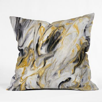 Jacqueline Maldonado Black and Gold Marble Throw Pillow