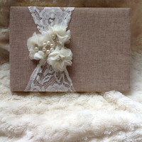 Burlap Wedding Guest book , custom guest book / You PICK COLoRS / name book , rustic guest book