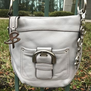 B. Makowsky Gray Leather Crossbody Purse