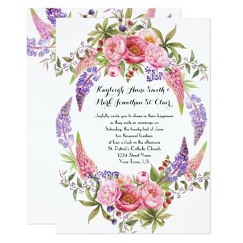 Pink Purple Lupines Peonies Watercolor Weddings Card