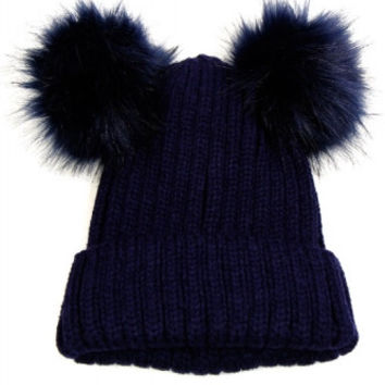 Double Fur Pom Pom Knit Beanie Hat - Navy