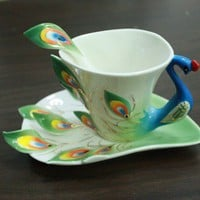 Porcelain Green Peacock tea coffee cup set by CraftingGeneral