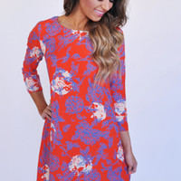 Red Floral Print Shift Dress