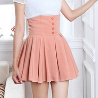 High Waist Button Skirt = 5710634817