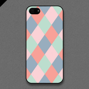 iPhone 5 case - Diamond check : Tiffany Teal / Pink / Blue gray / coral - also available in iPhone 4 and iPhone 4S size