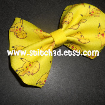 Pikachu super cute and yellow Pokemon Hair Bow or bow tie