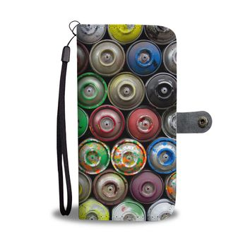 Spray Paint Cans Phone Case Wallet Graffiti