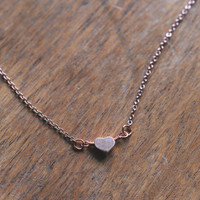 Rose Gold Heart Necklace // Dainty Rose Gold Necklace // Short Simple Necklace / Tiny Heart Necklace / Simple Small Necklace / Heart Jewelry