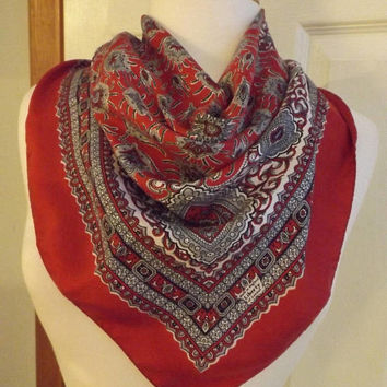 Vintage Liberty of London Red Abstract Scarf, Retro Fashion, Women's Accessory, Scarf, Liberty Scarf, Designer Scarf, Valentine's Day Scarf