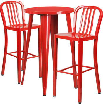 24'' Round Red Metal Indoor-Outdoor Bar Table Set with 2 Vertical Slat Back Barstools