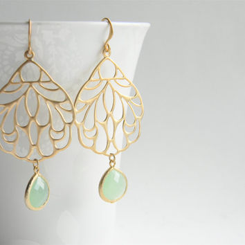 Gold Dangle Earrings - Matte Gold Filigree Pendant Dangle Earrings with Opaque Light Green Jade Faceted Drops