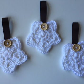 White Crochet Star Ornaments (Set of 3) Christmas Decor, Holiday Decor