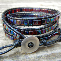 Beaded Leather Wrap Bracelet 4 Wrap with Iridescent Amber Rainbow Cube Beads on Black Leather