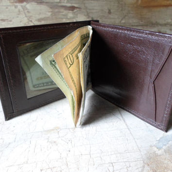 Mens Wallet, Leather Wallet, Bi Fold, Dead Stock, Vintage, Money Clip, Warm Brown, Credit Card Holder, Retro, Men's Wallet, All Vintage Man