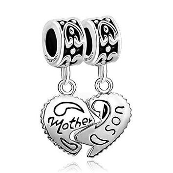 QueenCharms Family Love Charm Heart Shaped Mother Mom Son Matching Dangle for Bracelet
