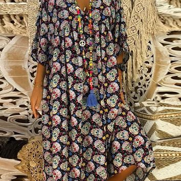 New Black Floral Print 3/4 Sleeve Casual Sweet Going out Maxi Dress