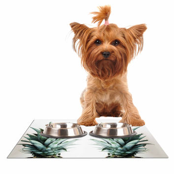 """Chelsea Victoria """"Two Pineapples"""" Green Gold Dog Place Mat"""