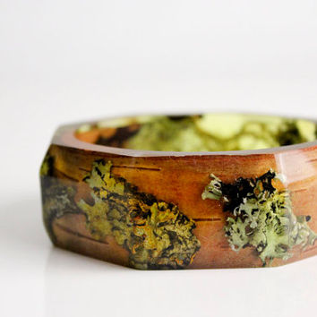 woodland jewelry eco resin bracelet with octagonal facets contains real moss, lichen and twigs