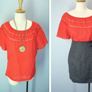 Vintage Red Polka Dot Blouse Peasant Lace