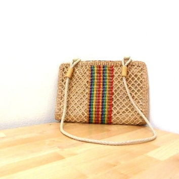 Vintage Woven Straw Purse / Cross Body Bag / Rattan Handbag / Shoulder Bag / Wicker Purse / Basket Weave Purse