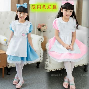 Hot Sale Kids Alice in Wonderland Costume Lolita Dresses Children Maid Cosplay dress Fantasia  Costumes for Girl Free Headwear