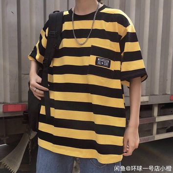 hcxx 1393 Converse Striped pocket simple versatile short sleeve T Shirt