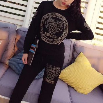 DCCK6HW Kenzo' Women Sport Casual Fashion Diamond Tiger Head Letter Pattern Long Sleeve Trousers Set Two-Piece Sportswear