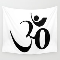OM or Aum symbol Wall Tapestry by Laureenr