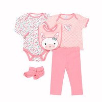 Cutie Pie Girls 5 Piece Ivory Floral Print and Coral Heart Embroidered Bodysuits, Coral Pant, Booties and Bunny Bib Set