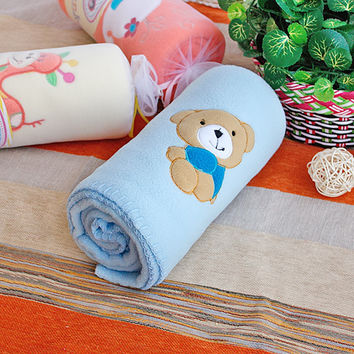 [Brown Bear - Blue] Embroidered Applique Coral Fleece Baby Throw Blanket
