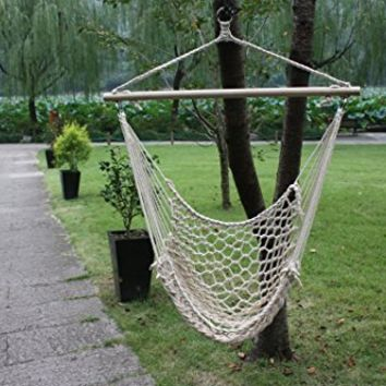 White Cotton Rope Swing Hammock Cradle Outdoor Garden Patio Yard Porch Chair with Wood Stretcher
