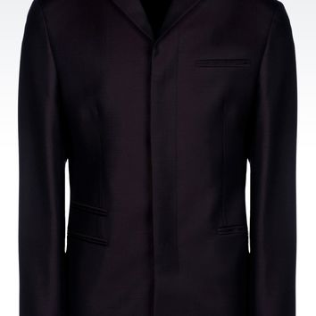 Emporio Armani Men Dinner Jacket - FOUR BUTTON JACKET IN WOOL OXFORD Emporio Armani Official Online Store