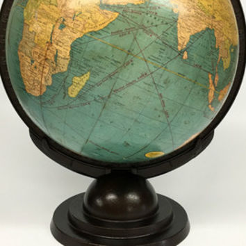 Antique World Globe, Cram's Terrestrial Globe, Desk Globe, Vintage Cram's World Globe, Antique Globe, Vintage Office Decor