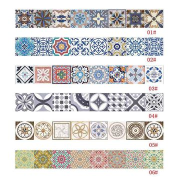 Fashion Waterproof Ceramic Tile Sticker Self Adhesive 3D Floor Wall Stickers For Living Room Bedroom Kitchen 20x500CM J2