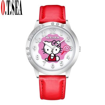 New Top O.T.SEA Brand Lovely Hello Kitty Watch Children Girl Women Candy Leather Crystal Dress Quartz Wristwatch 5555