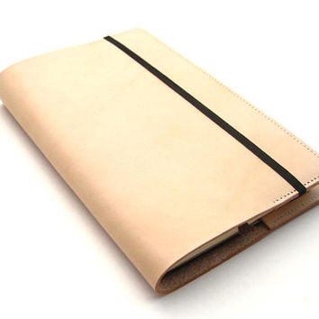 Refillable Journal Cover - Handmade Vegetable Tanned Leather - Natural Tan Color