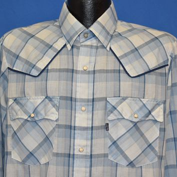 80s Levi's Blue and White Plaid Western Shirt Large