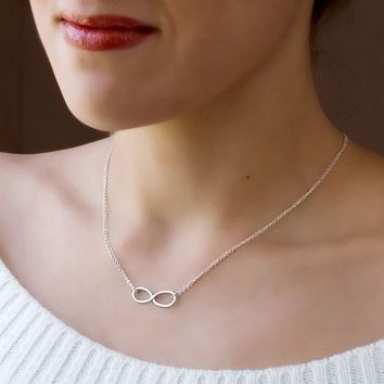 Sterling Silver Infinity Necklace  Handmade by toolisjewelry