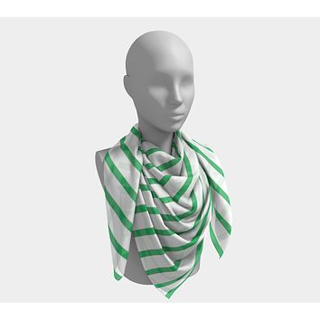 Striped Square Scarf - Green on White