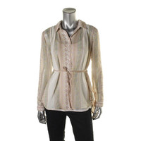 Free People Womens Sheer Hi Low Button-Down Top