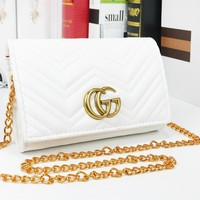 GUCCI Fashion New Leather Chain Leisure Shopping Shoulder Bag Women White