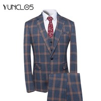 YUNCLOS 2018 New Arrival Men Suit 3 Pieces Classic Plaid Suits Men Business Wedding Suits Slim Fit Men Tuexdo Party Dress