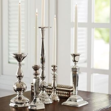 ECLECTIC SILVER-PLATED CANDLESTICKS