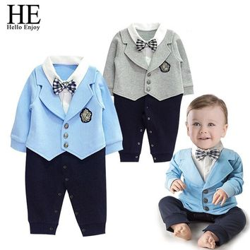 Baby rompers Autumn winter casual newborn baby boys clothes gentleman Bow tie Long sleeve infant jumpsuits