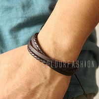Christmas Gift, Fashion Stylish Multilayer Brown Braid cuff, Weaved Brown Leather tube Wrap Bracelet B-1