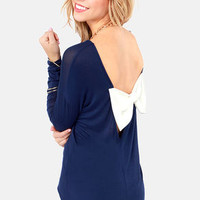 The Bow Monde Long Sleeve Navy Blue Top